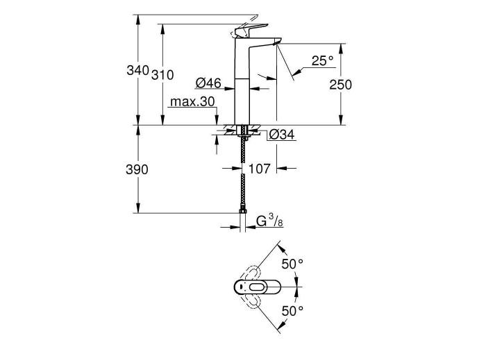 Grohe BauLoop Смеситель однорычажный для раковины XL-Size (23764000)