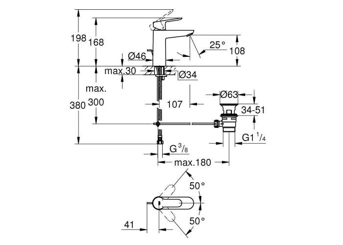 Grohe BauEdge Смеситель однорычажный для раковины M-Size (23758000)
