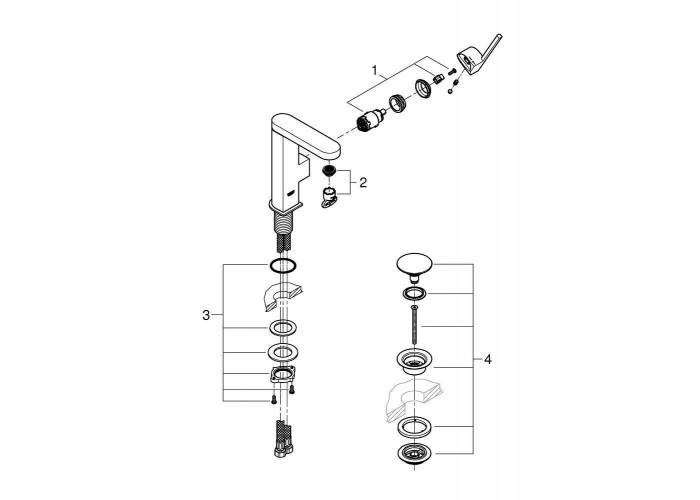 Grohe Plus Смеситель однорычажный для раковины, М-Size + нажимной донный клапан (23872003)