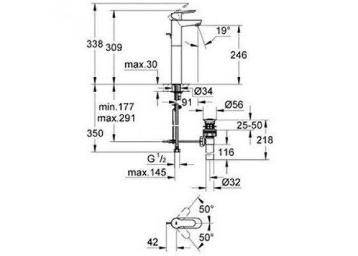 Grohe BauEdge Смеситель однорычажный для раковины XL-Size (32860000)