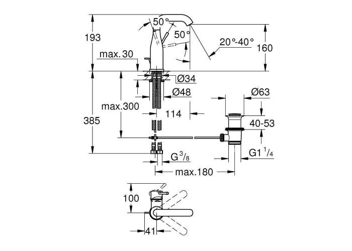 Grohe Essence Смеситель однорычажный для раковины M-Size (23462001)