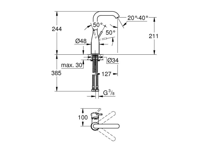 Grohe Essence Смеситель однорычажный для раковины L-Size (23541001)