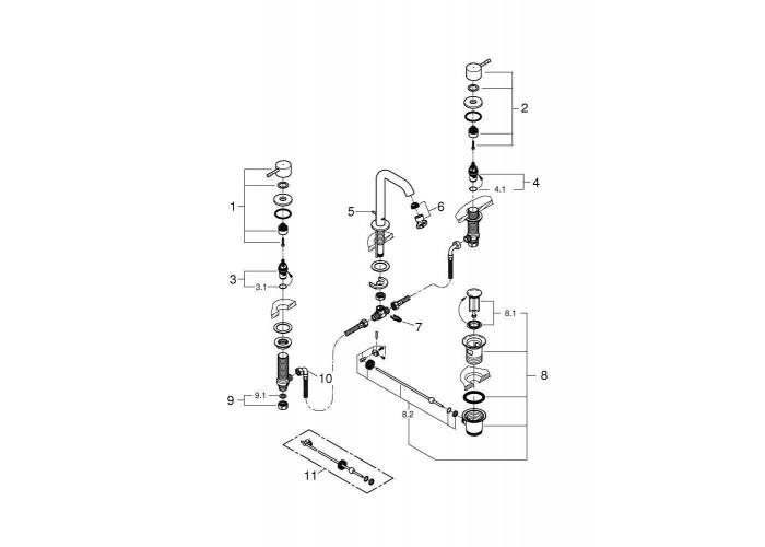 Grohe Essence Смеситель для раковины на три отверстия M-Size (20296001)