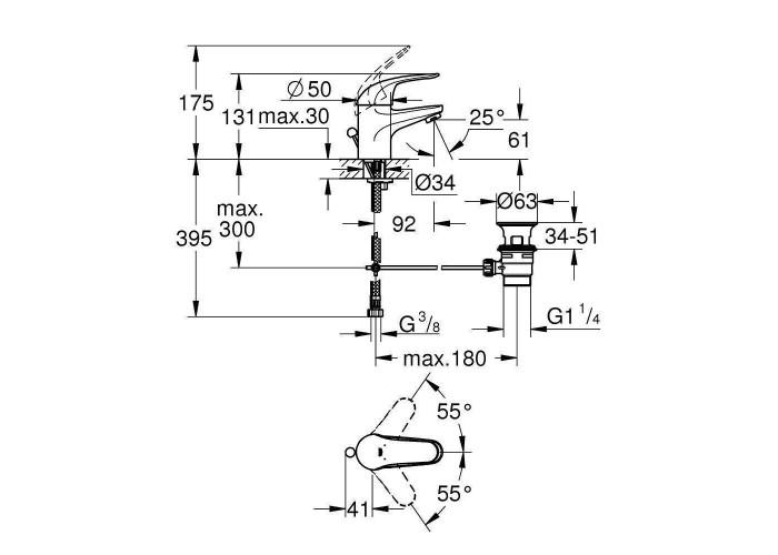 Grohe Euroeco Смеситель однорычажный для раковины S-Size (23262000)