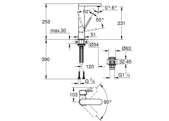 Grohe Plus Смеситель однорычажный для раковины , L-Size с нажимним донним клапаном (23873003)