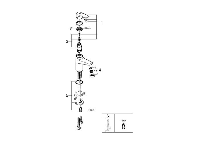 Grohe BauFlow Смеситель однорычажный для раковины S-Size (23752000)