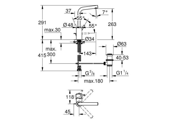 Grohe Concetto Смеситель однорычажный для раковины L-Size (23739002)