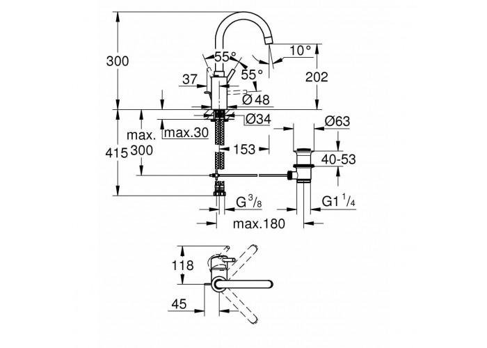 Grohe Concetto Смеситель однорычажный для раковины L-Size (32629002)