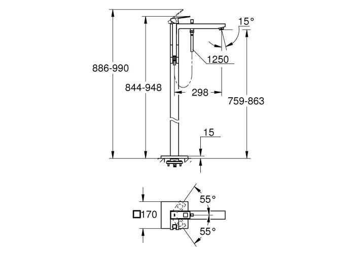 Grohe Eurocube Смеситель однорычажный для ванны, напольный монтаж (23672001)