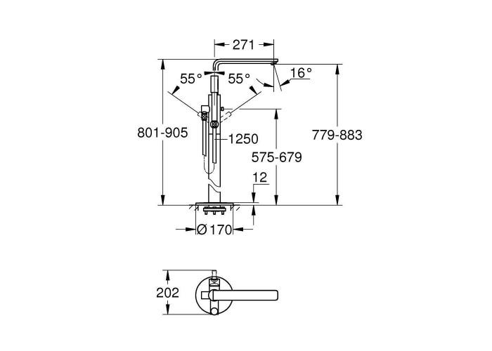Grohe Lineare Смеситель однорычажный для ванны , напольный монтаж (23792001)
