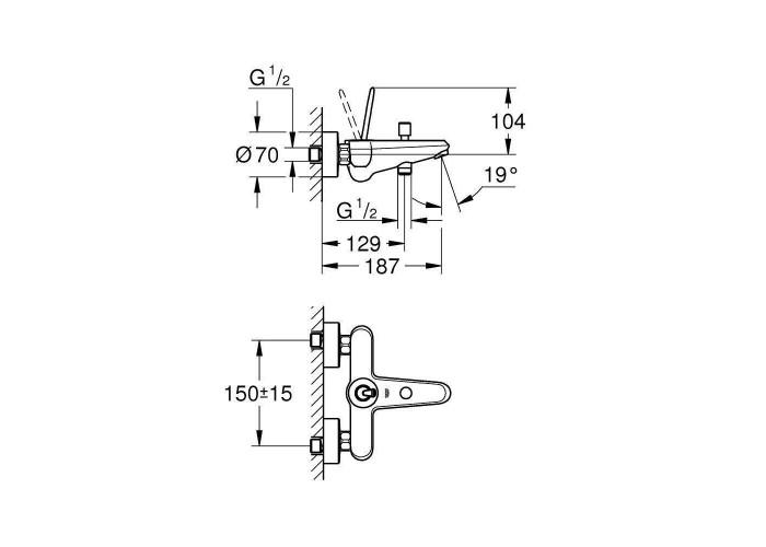 Grohe Eurodisc Joystick Смеситель для ванны (23431LS0)