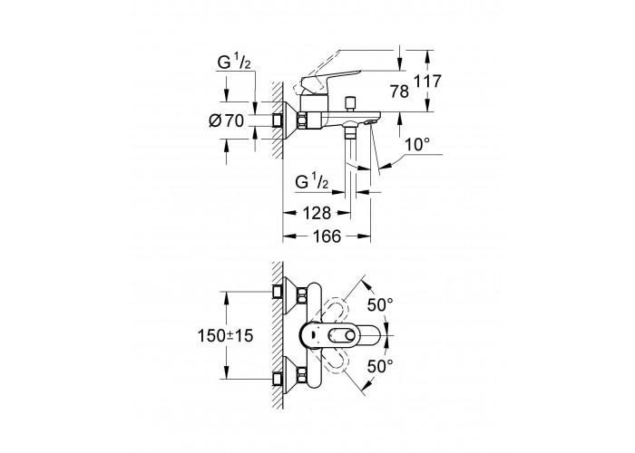 Grohe BauLoop Однорычажный смеситель для ванны (23603000)