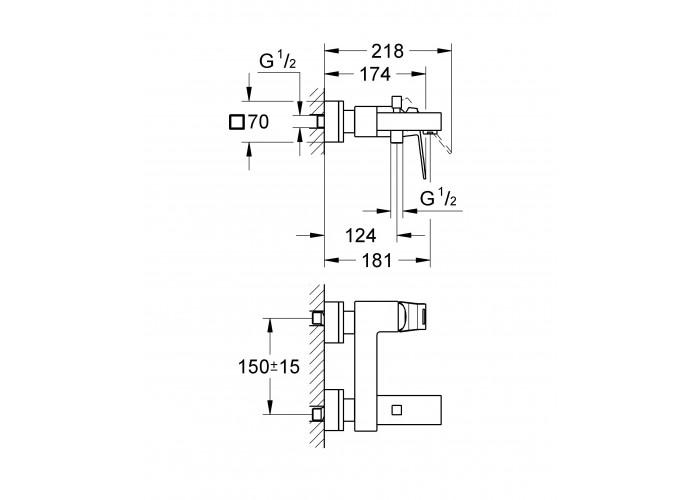Grohe Eurocube Смеситель однорычажный для ванны (23140000)