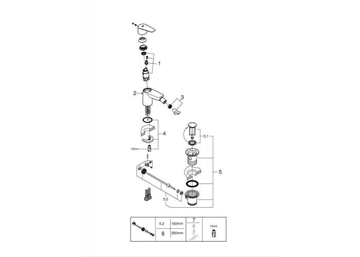 Grohe BauEdge New Смеситель однорычажный для биде (23331001)