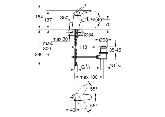 Grohe Eurostyle Однорычажный смеситель для биде S-Size (23720LS3)