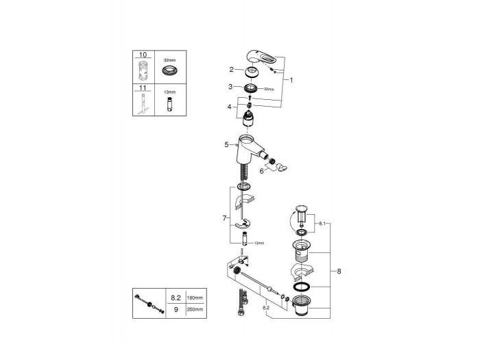 Grohe Eurostyle Смеситель однорычажный для биде S-Size (33565LS3)