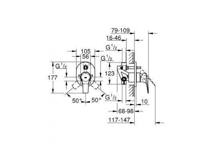 Grohe BauFlow Однорычажный смеситель для ванны (29045000)