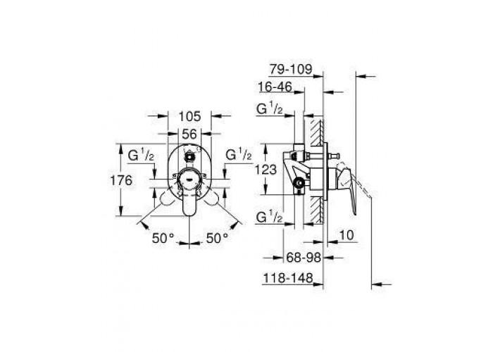 Grohe BauEdge Смеситель однорычажный для ванны (29039000)