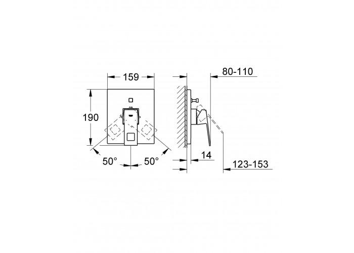 Grohe Eurocube Смеситель однорычажный для ванны, внешняя часть (19896000)