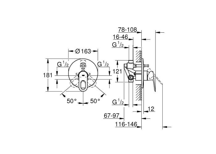 Grohe BauLoop Смеситель однорычажный для ванны (29081000)