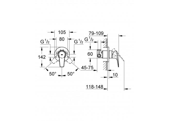 Grohe BauFlow Однорычажный смеситель для душа (29046000)
