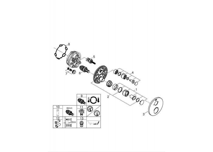 Grohe Grohtherm Термостат для душа с переключателем на 2 положения ванна/душ (24077000)