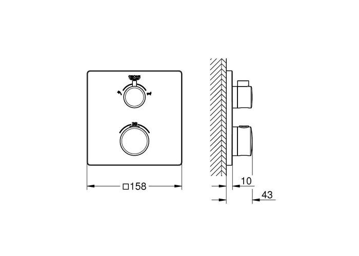 Grohe Grohtherm Термостат для душа с переключателем на 2 положения ванна/душ (24080000)