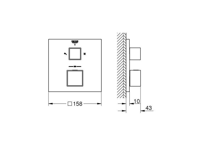 Grohe Grohtherm Cube Термостат для душа с переключателем на 2 положения (24154000)