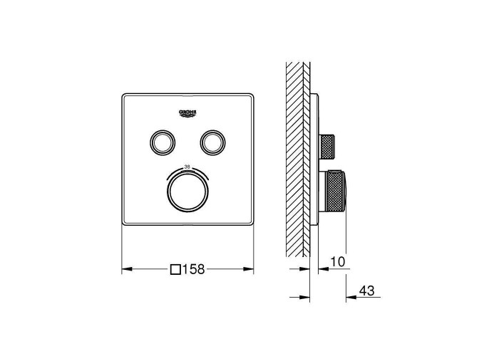 Grohe Grohtherm SmartControl Термостат скрытого монтажа с двумя кнопками управления (29124000)