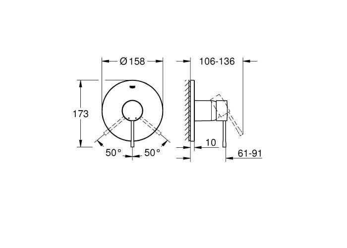Grohe Essence Смеситель однорычажный на 1 выход (24057001)