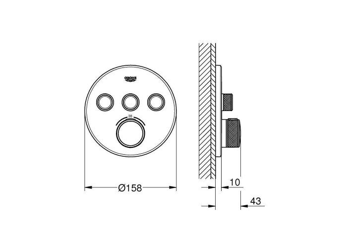 Grohe Grohtherm SmartControl Термостат для встраиваемого монтажа на 3 выхода (29121000)