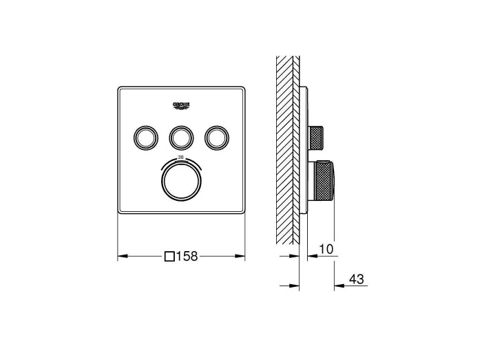 Grohe Grohtherm SmartControl Термостат для встраиваемого монтажа на 3 выхода (29126000)