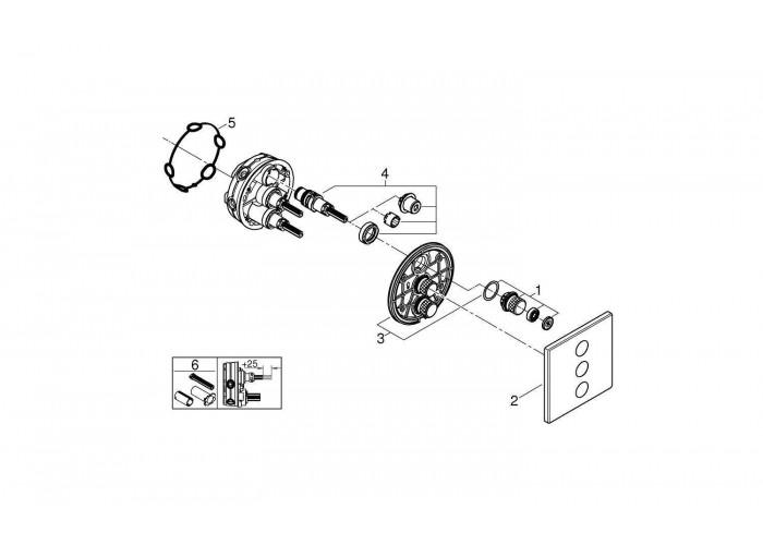 Grohe Grohtherm SmartControl Комплект верхней монтажной части для вентиля на три выхода (29127000