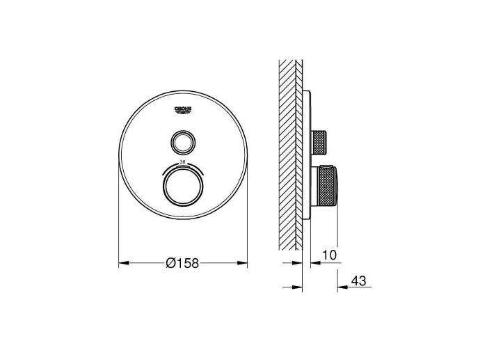 Grohe Grohtherm SmartControl Термостат скрытого монтажа с одной кнопкой управления (29118000)