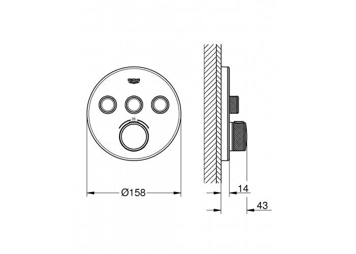 Grohe Grohtherm SmartControl Термостат для встроенного монтажа на 3 выхода (29904LS0)