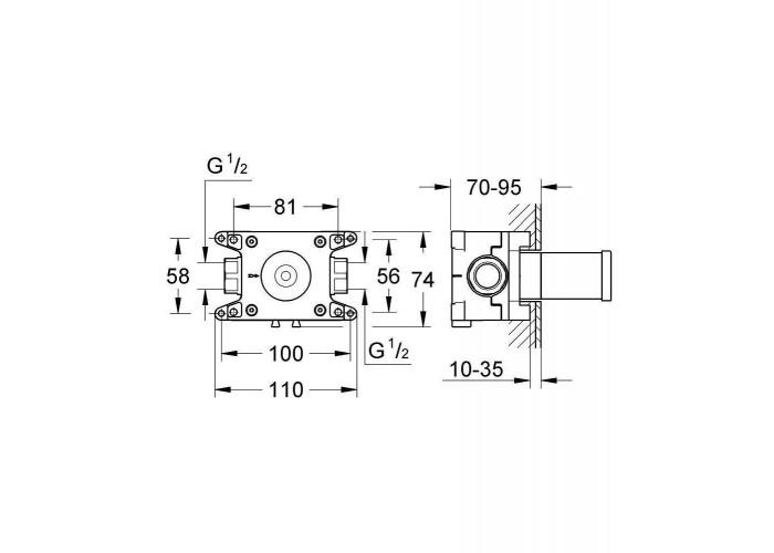 Grohe GROHE Rapido C Встраиваемый вентиль на один выход (35028000)