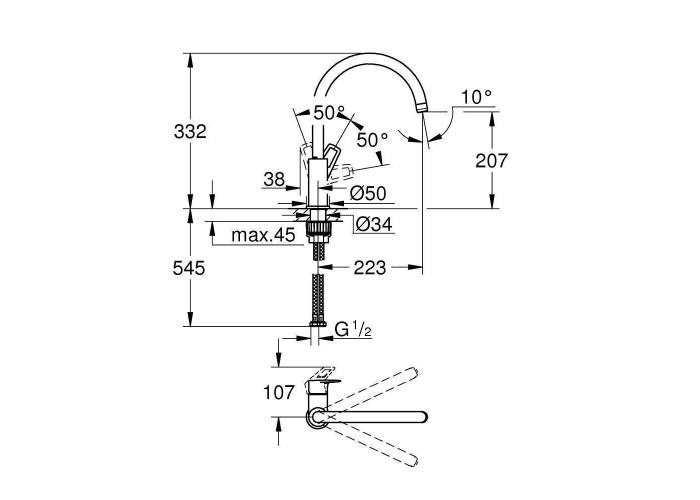 Grohe BauLoop Смеситель однорычажный для мойки (31232001)