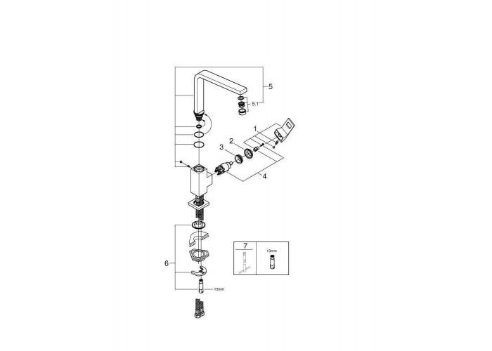 Grohe Eurocube Смеситель однорычажный для мойки (31255000)