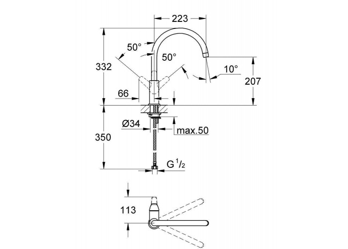 Grohe BauFlowСмеситель однорычажный для мойки (31230000)
