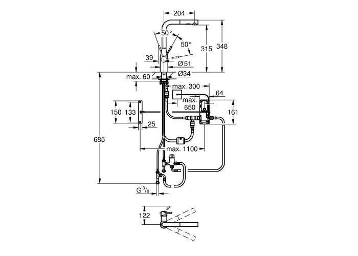 Grohe Essence Foot Control Сенсорный однорычажный смеситель для мойки (30311000)