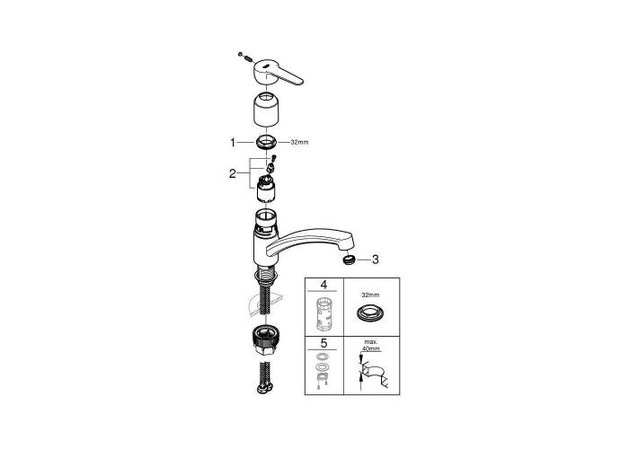 Grohe BauEco Смеситель однорычажный для мойки (31680000)