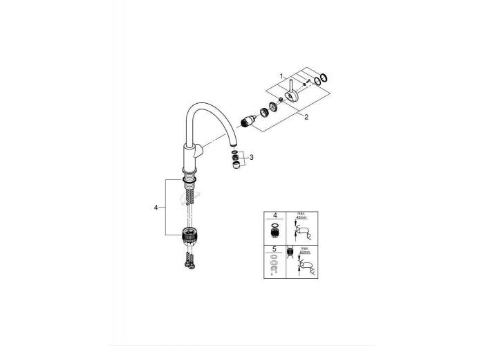 Grohe BauClassic Смеситель однорычажный для мойки (31535001 )