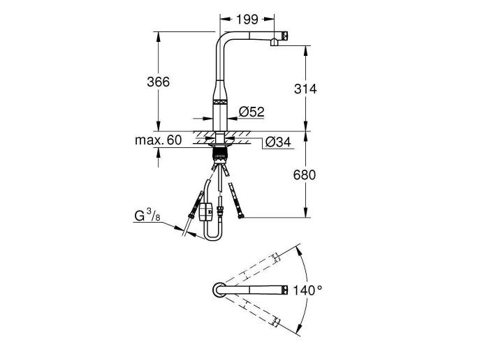 Grohe Essence Смеситель SmartControl для мойки (31615000)