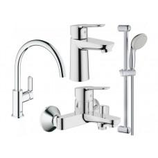Grohe Набор смесителей Bau Edge 4 в 1 для ванны и кухни (123218K)
