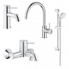Grohe Комплект смесителей BauClassic 4 в 1 для ванны и кухни (123869K)