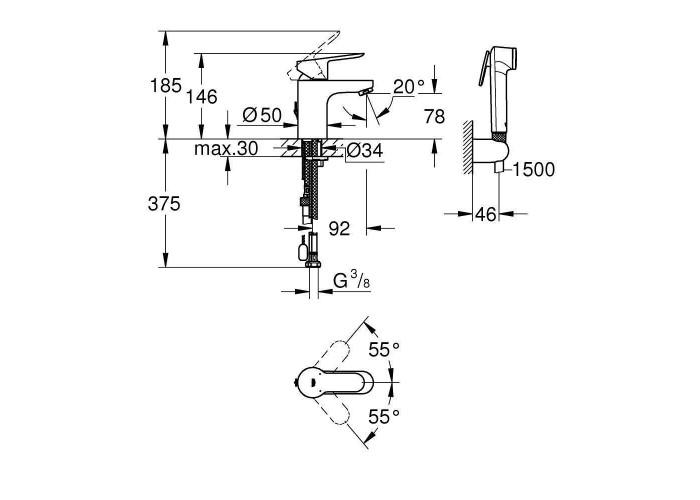 Grohe BauEdge Смеситель однорычажный для раковины S-Size с гигиеническим душем (23757000)
