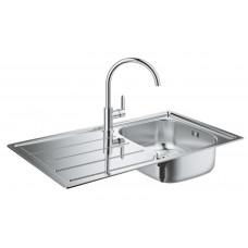 Grohe Комплект Мойка для кухни 860 x 500 мм + BauEdge Однорычажный смеситель для кухни (31562SD0)