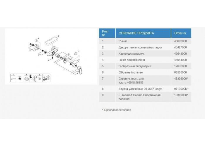 Grohe Eurosmart Cosmopolitan набор смесителей для душа 3 в 1 (126114M)