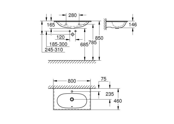 Grohe Essence Раковина для столешницы 800 мм (3956700H)