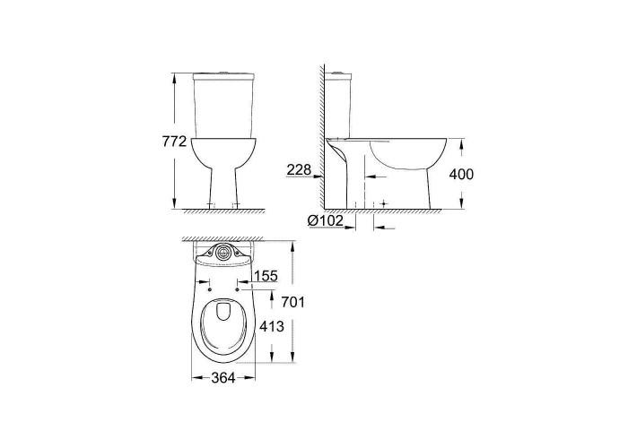 Grohe Bau Ceramic Унитаз напольный безободковый, вертикальный выпуск (39429000)